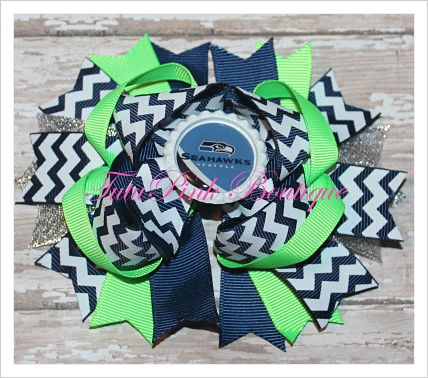 Hair Bow Boutique Stacked Seahawks