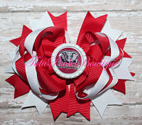 Hair Bow Boutique Stacked Crimson & White Alabama Style 1 Football