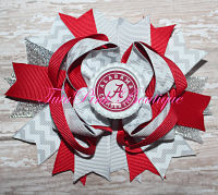 Hair Bow Boutique Stacked Alabama Crimson, White, Grey Style 2 Football