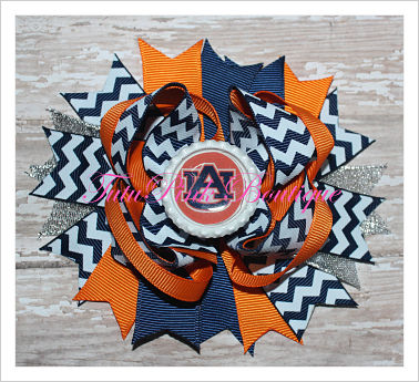 Hair Bow Boutique Stacked Auburn Navy Blue & Orange Football