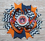 Hair Bow Boutique Stacked Auburn Navy Blue & Orange Football