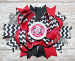 Hair Bow Boutique Stacked Red & Black Bulldogs