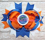 Hair Bow Boutique Stacked Blue & Orange Gators Football Style 1