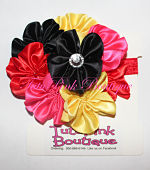 Headband Satin Flower Cluster Black, Red, Hot Pink, Gold