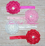 Headband Large Flower Rhinestone Pink, Hot Pink, White, Red