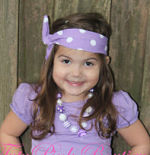 Headband Knotted Precious in Purple Polka Dots