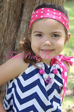 Headband Knotted Tie Hot Pink White Dots