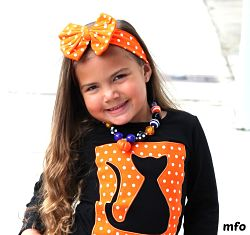Headband Messy Bow Orange White Dots