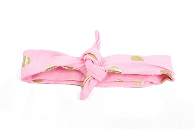 Headband Knotted Tie Light Pink Gold Dot
