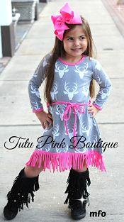 Boutique Hi Lo Dress Gray & Hot Pink Deer
