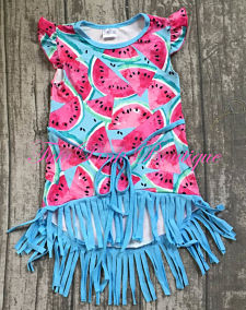 Boutique Hi Lo Watermelon Fringe Dress