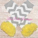 Leg Warmers Cotton with Ruffles Gray Chevron Yellow Ruffles