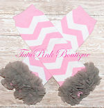 Leg Warmers Cotton with Ruffles Pink Chevron with Gray Ruffles