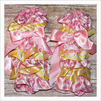 Leg Warmers Satin Pink Lemonade Pink & Yellow Chevron