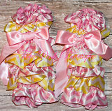 Leg Warmers Satin Pink Lemonade Pink & Yellow Chevron