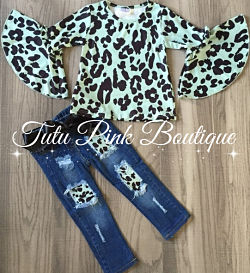 Denim & Mint Leopard Bell Sleeve Set