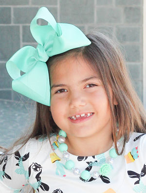 "Hair Bow Boutique 8""  Frosted Teal"