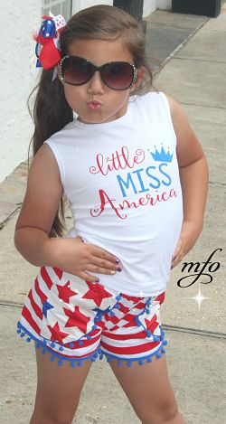 Shorts & Tank Top Set Little Miss America