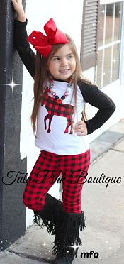 Leggings & Top Set Plaid Moose