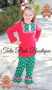 Ruffle Pants & Ruffle Bib Top Set Christmas Red & Green Dots