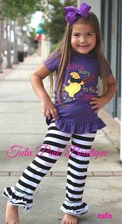 Ruffle Pants & Top Set Witch Way to the Candy Halloween