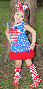Petti Tunic Dress RWB Patriotic Minnie Mouse Inspired Red White Blue