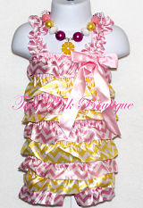 Petti Romper Satin Pink Lemonade Pink & Yellow Chevron