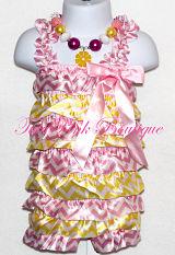 Petti Romper Satin Pink Lemonade Pink & Yellow Chevron