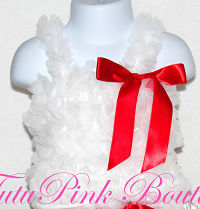 Petti Top Chiffon Ruffles White with Red Bow
