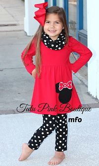Pants Set Tunic, Scarf, and Leggings Minnie
