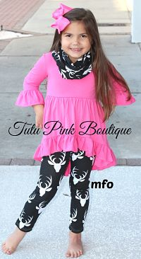 Pants Set Hi Lo Tunic, Scarf, and Leggings Deer