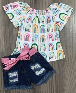 Denim Shorts & Top Rainbows