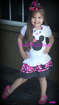 Skirt & Top Set Minnie Mouse Hot Pink Black