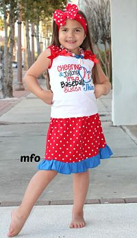 Skirt & Top Set Baseball Sister Cheer Bling