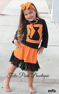 Skirt & Top Set Black Cat Halloween Cutie