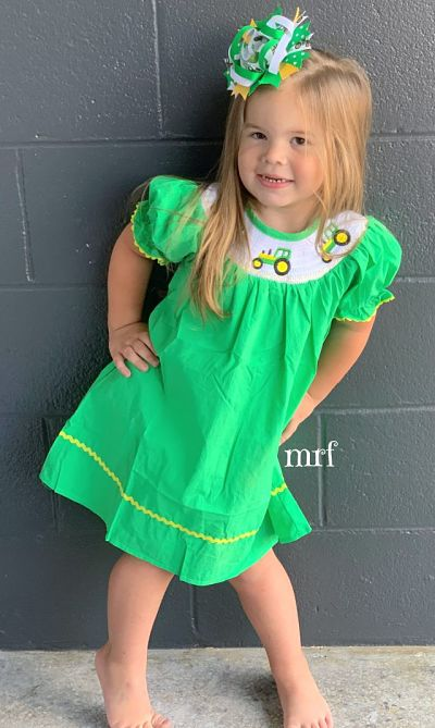 Smocked Green Tractor Dress