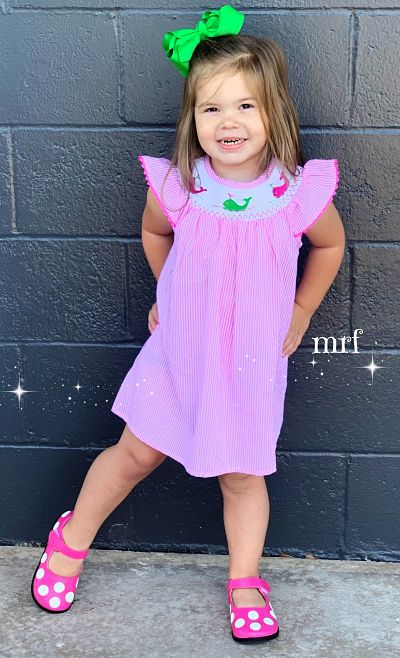 Smocked Dress Whales