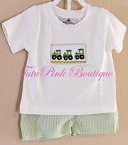 Smocked Boys Green Tractor John Deere Inspired Shorts & Top Set