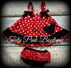 Swing Top Minnie Mouse Red Black