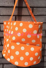 Halloween Candy Treat Bag Bucket Orange with White Polka Dots
