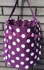 Halloween Candy Treat Bag Bucket Purple with White Polka Dots