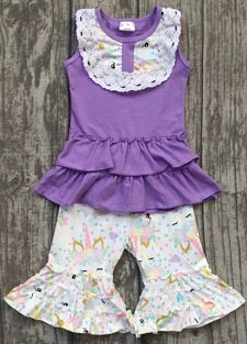 Capri & Ruffle Top Unicorn