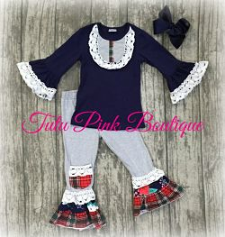 Ruffle Pants & Ruffle Top Set Winter Plaid Crochet Lace